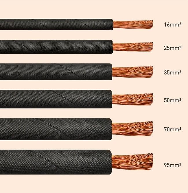 سایزبندی کابل جوش